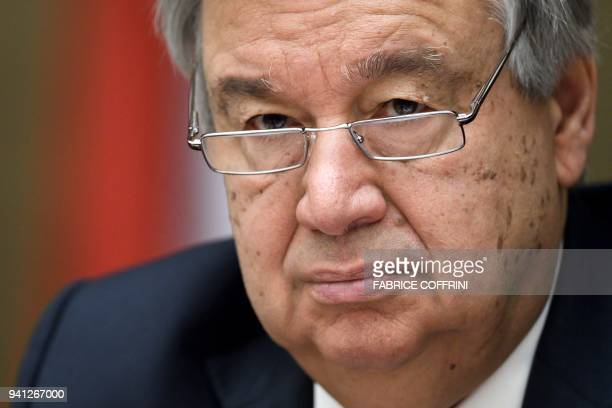 UN Secretary General Antonio Guterres attends a pledging conference aimed at raising 3 billion dollars for warravaged Yemen on April 3 2018 at the...