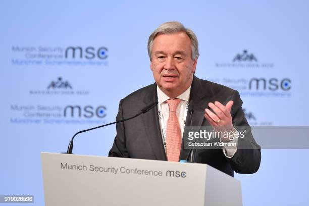 Secretary General Antonio Guterres delivers a speech at the 2018 Munich Security Conference on February 16 2018 in Munich Germany The annual...