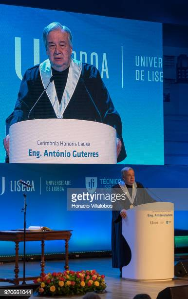 Secretary General Antonio Guterres delivers remarks after receiving the honorary doctorate degree at Universidade de Lisboa on February 19 2018 in...