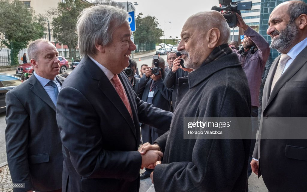 UN Secretary General Antonio Guterres (L) is greeted by Abdoul Vakil (R), president of the Islamic Community of Lisbon when arriving in the city's Central Mosque to attend the ceremony commemorating the 50th anniversary of the Islamic community of Lisbon on March 15, 2018 in Lisbon, Portugal. Nowadays Islamic population in Portugal, a territory once under Moors' rule, is being estimated as some 40.000.