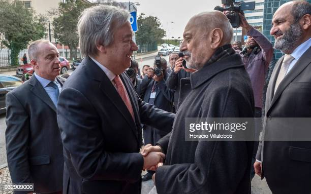 Secretary General Antonio Guterres is greeted by Abdoul Vakil president of the Islamic Community of Lisbon when arriving in the city's Central Mosque...