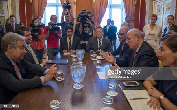 Secretary General Antonio Guterres meets with Portugal's Minister of Foreign Affairs Augusto Santos Silva at Necessidades Palace headquarters of the...
