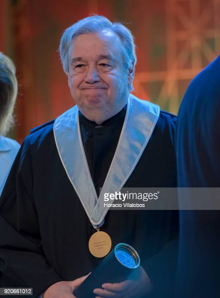 Secretary General Antonio Guterres reacts after receiving from the Dean of Lisbon University Antonio da Cruz Serra the honorary doctorate degree at...