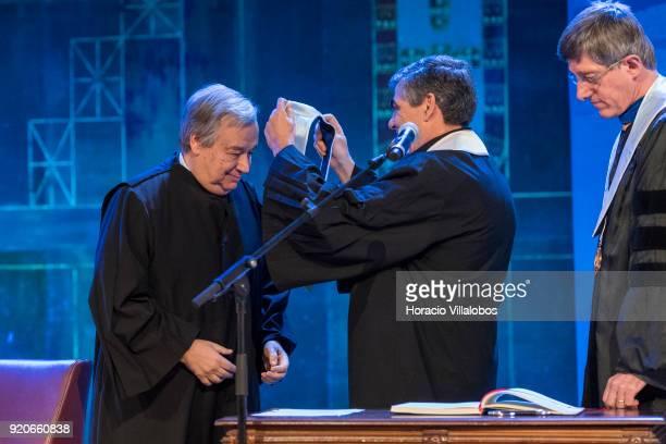 Secretary General Antonio Guterres receives from the Dean of Lisbon University Antonio da Cruz Serra the honorary doctorate degree at Universidade de...