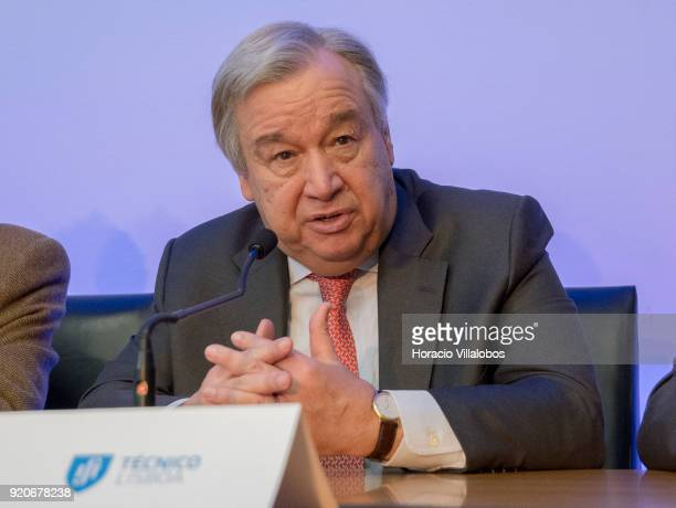 Secretary General Antonio Guterres talks to journalists a press conference after having received the honorary doctorate degree at Universidade de...