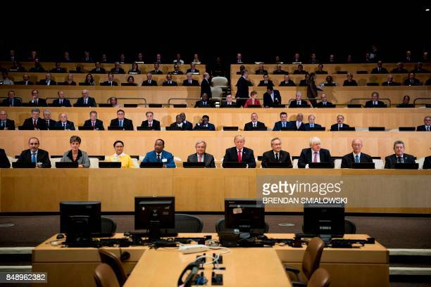 UN Secretary General Antonio Guterres US President Donald Trump and other participants wait for a meeting on United Nations Reform at the UN...