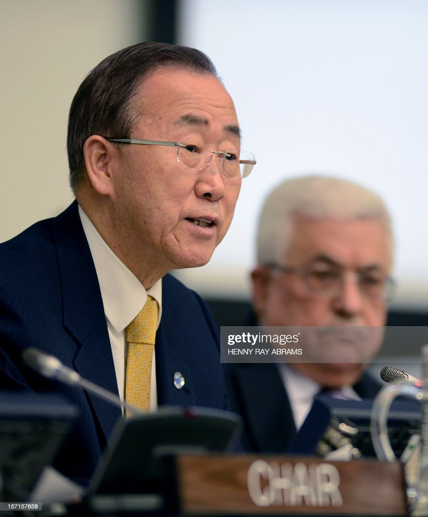 UN Secretary General Ban Ki-moon addresses the Committee on the Exercise of the Inalienable Rights of the Palestinian People, while Palestinian President Mahmoud Abbas (R) listens November 29, 2012 at UN headquarters in New York. AFP PHOTO/Henny Ray Abrams