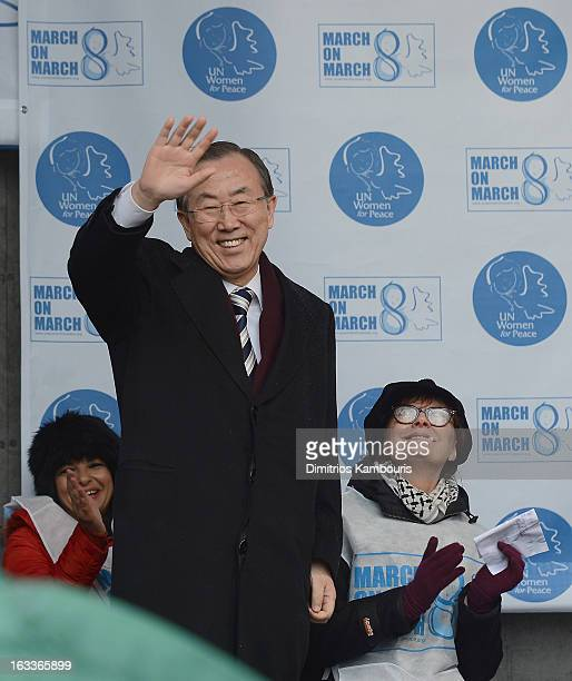 Secretary General Ban Ki-moon and Susan Sarandon attend the March On March 8 at United Nations on March 8, 2013 in New York City.