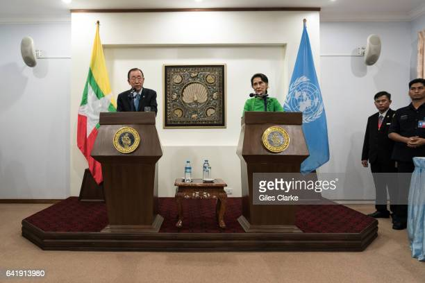 Secretary General Ban Kimoon and the UN delegation meet with and hold a conference with Aung San Suu Kyi State Counsellor of Myanmar