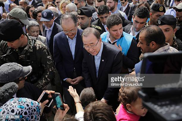 UN Secretary General Ban Kimoon and World Bank President Jim Yong Kim meets Syrian refugees during his visit in Hay alTanak an impoverished district...