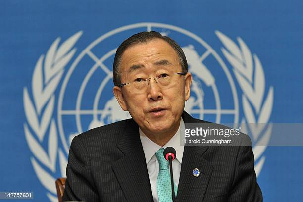 Secretary General Ban Kimoon attends a press conference at the United Nations Office in Geneva on April 12 2012 in Geneva Switzerland Ban Kimoon told...