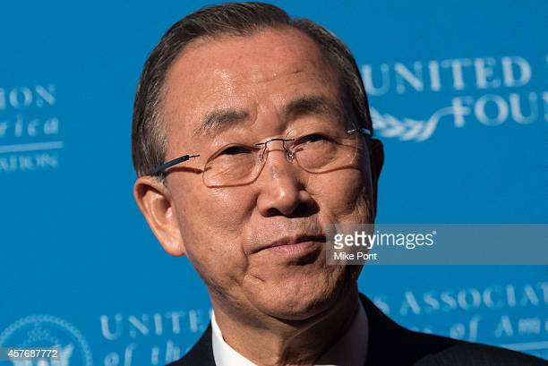 Secretary General Ban Ki-moon attends the 2014 Global Leadership Dinner at Cipriani 42nd Street on October 22, 2014 in New York City.