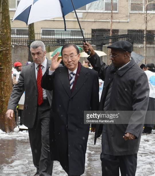 Secretary General Ban Ki-moon attends the March On March 8 at United Nations on March 8, 2013 in New York City.