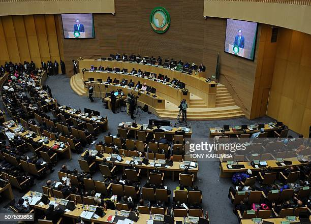 UN Secretary General Ban kiMoon gives an address at the 26th presidential summit of the African Union on January 30 2016 in Addis Ababa African...