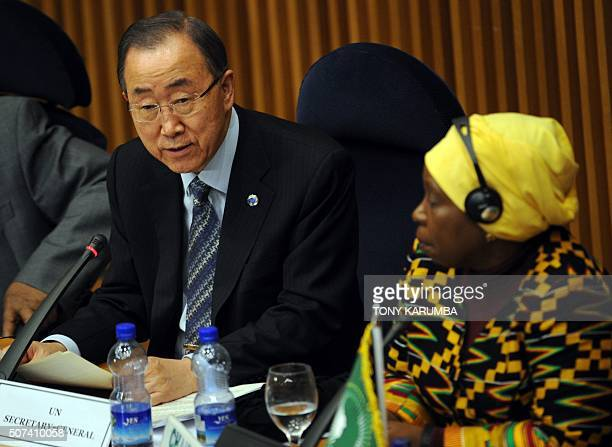 UN Secretary General Ban kiMoon gives an address at the African Union Peace and Security Council in Addis Ababa on January 29 as Chairperson of the...