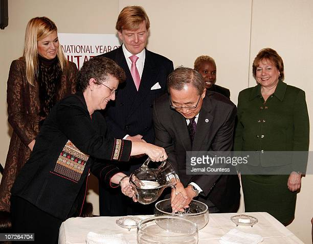 Secretary General Ban Ki-moon is flanked by Princess Maxima of the Netherlands, Prince Willem-Alexander, Prince of Orange, UNICEF Goodwill Ambassador...