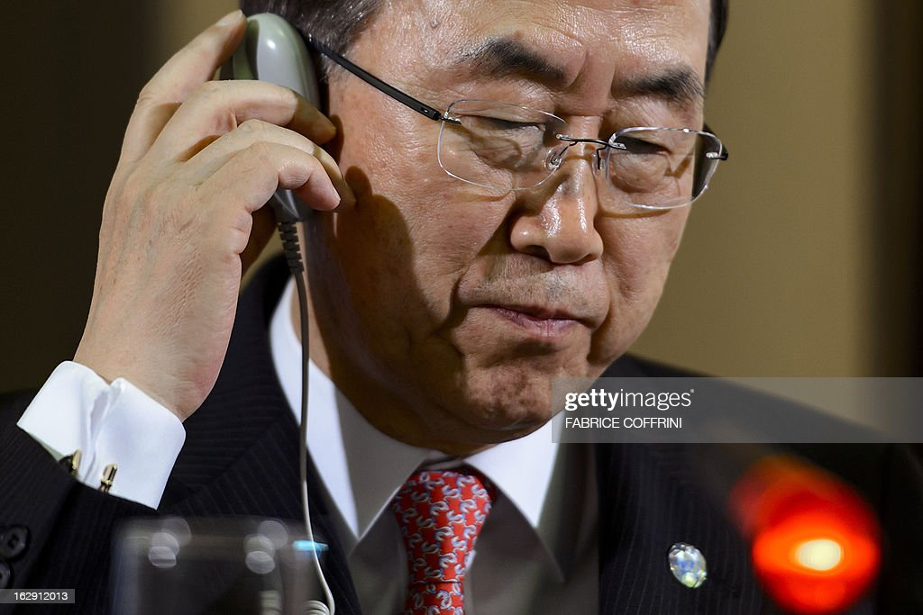 UN Secretary General Ban Ki-moon listens a question during a press conference after a session of the United Nations Human Rights Council on March 1, 2013 in Geneva.