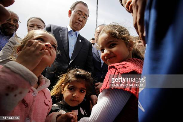 UN Secretary General Ban Kimoon meets Syrian refugees during his visit in Hay alTanak an impoverished district that was turned into an informal...