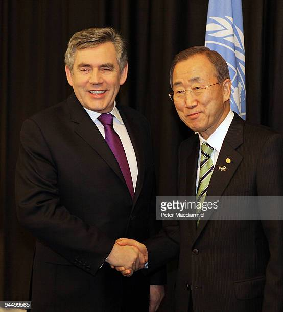 Secretary General Ban KiMoon meets with British Prime Minister Gordon Brown at the UN Climate Change Conference on December 16 2009 in Copenhagen...