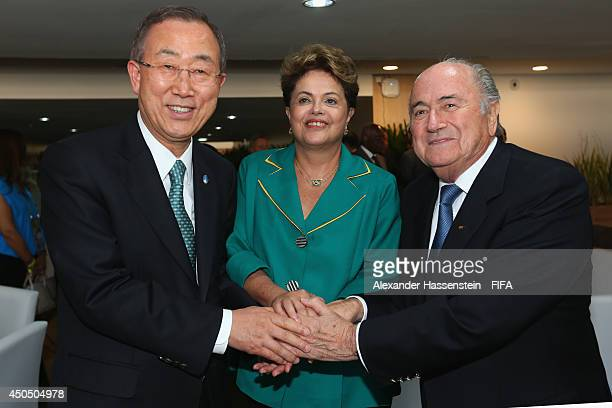 Secretary General Ban Ki-Moon pose with Brazilian President Dilma Rousseff and FIFA Presdient Joseph S. Blatter before the 2014 FIFA World Cup Brazil...