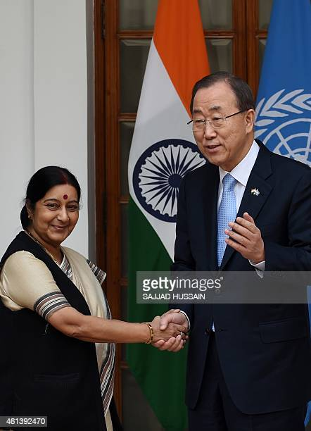 UN Secretary General Ban Kimoon shakes hands with Indian External Affairs Minister Sushma Swaraj ahead of their meeting in New Delhi on January 12...