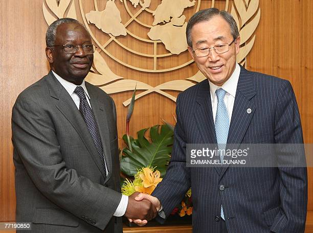 UN Secretary General Ban Kimoon shakes hands with UN emissary to Myanmar Ibrahim Gambari prior to a briefing at the United Nations in New York 04...