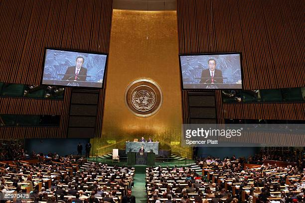 Secretary General Ban Kimoon speaks at the 63rd annual United Nations General Assembly meeting September 23 2008 at UN headquarters in New York City...