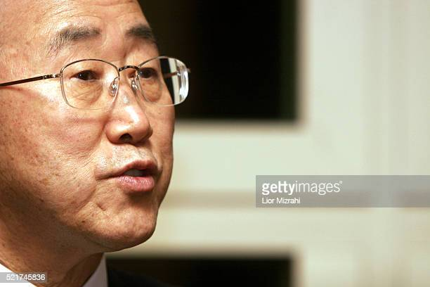 UN Secretary General Ban Kimoon speaks during an interview on March 25 2007 in Jerusalem Israel