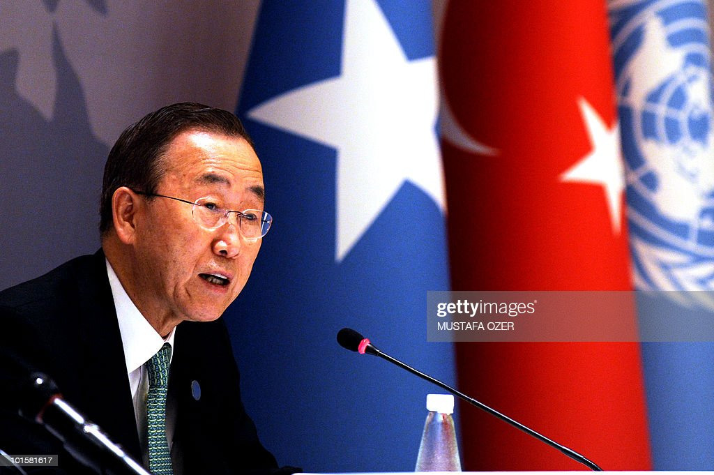 U.N. Secretary General Ban Ki-moon talks to media during a press conference after the Istanbul Conference of Somalia, on May 22, 2010 in Istanbul. UN Secretary General Ban Ki-moon opened an international conference on ending instability in Somalia with an appeal for global support for its transitional federal government.