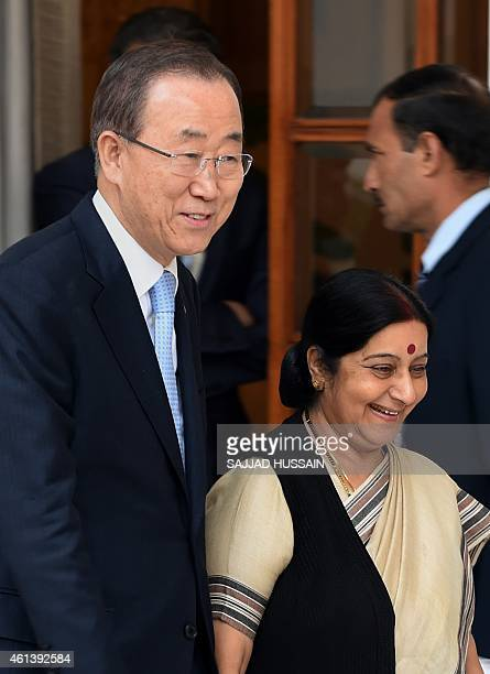 UN Secretary General Ban Kimoon walsk alongside Indian External Affairs Minister Sushma Swaraj ahead of their meeting in New Delhi on January 12 2015...