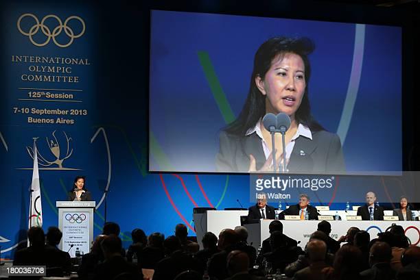 Secretary General Beng Choo Loo speaks during a World Baseball Softball Confederation presentation during the 125th IOC Session New Sport...