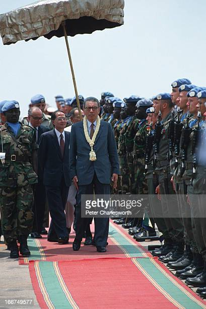 Secretary General, Boutros Boutros-Ghali on his arrival at Pochentong Airport. The secretary general came to meet with King Norodom Sihanouk and...