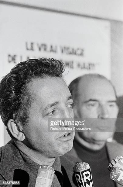 Secretary General Edmond Maire speaks in Paris during a meeting with Socialist leader Francois Mitterrand Maire led the CFDT from 1971 to 1988