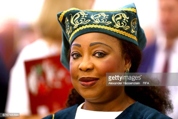 Secretary General Fatma Samoura arrives at the welcome banquet for the official draw of FIFA Confederations Cup Russia 2017 at Korston Hotel on...