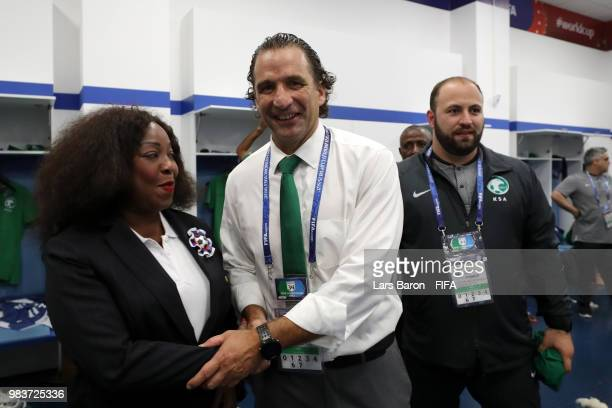 Secretary General Fatma Samoura congratulates Juan Antonio Pizzi Head coach of Saudi Arabia following his sides victory in the 2018 FIFA World Cup...