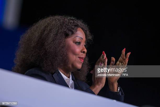 Secretary General Fatma Samoura speaks during the 68th FIFA Congress at Expotsentr on June 13 2018 in Moscow Russia