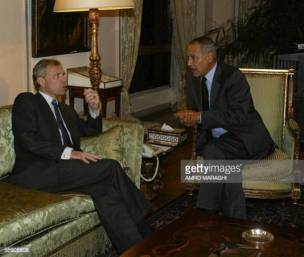 Secretary General Jaap de Hoop Scheffer meets with Egyptian Foreign Minister Ahmed Abul Gheit 12 October 2005 in Cairo AFP PHOTO/AMRO MARAGHI