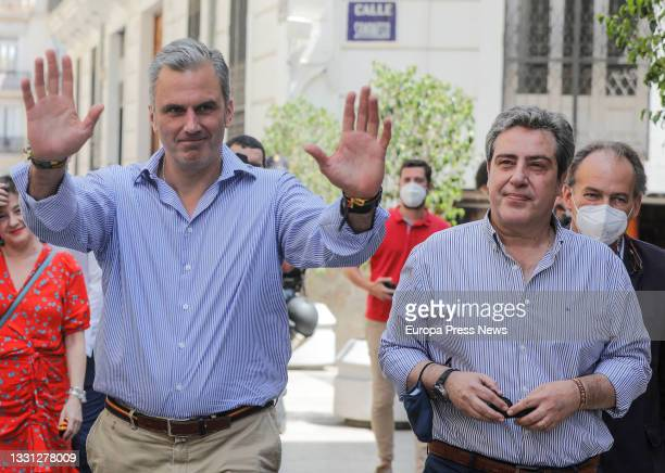 Secretary General Javier Ortega Smith and the president of Vox in Valencia, Jose Maria Llanos , on their arrival at the inauguration of the party's...