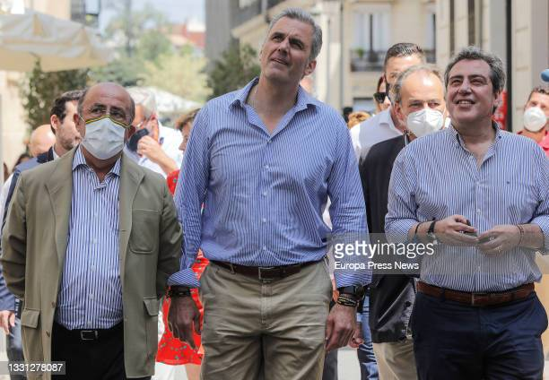 Secretary General Javier Ortega Smith and Vox president in Valencia Jose Maria Llanos as they arrive at the inauguration of the party's new...