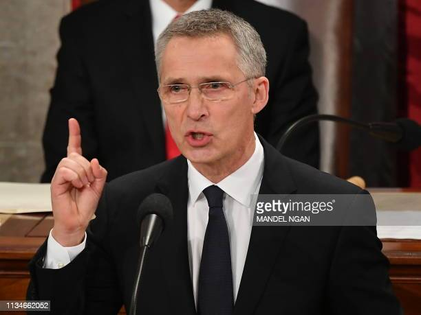 Secretary General Jens Stoltenberg addresses a joint meeting of Congress in the House Chamber of the US Capitol in Washington DC on April 3 2019