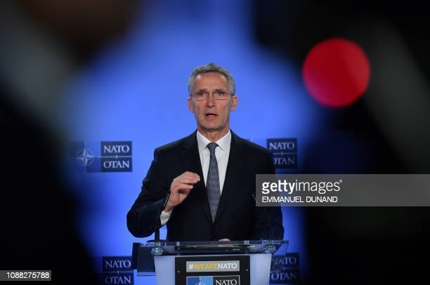 Secretary General Jens Stoltenberg addresses a press conference after a NATORussia council meeting at NATO headquarters in Brussels on January 25 2019