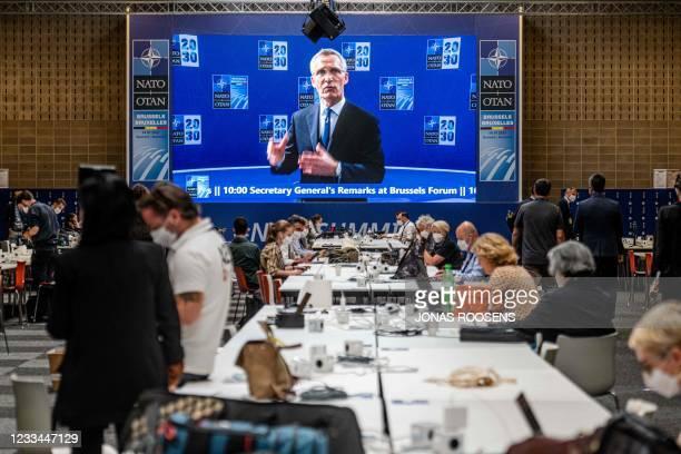Secretary General Jens Stoltenberg addresses the press at headquarters ahead of the NATO summit at the North Atlantic Treaty Organization...