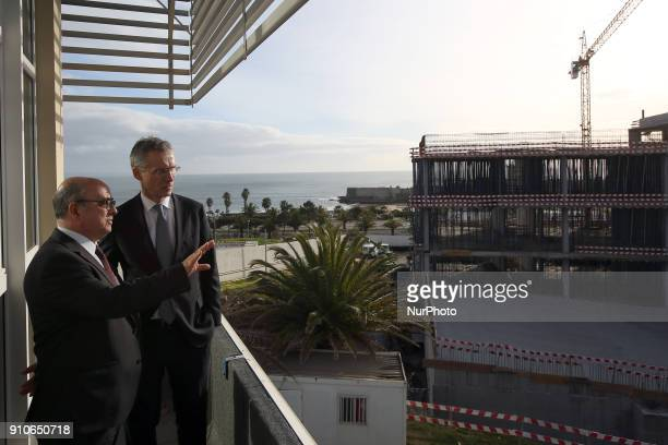 Secretary General Jens Stoltenberg and Portugal's Defence Minister Jose Alberto Azeredo Lopes during a visit to the Naval Striking and Support Forces...
