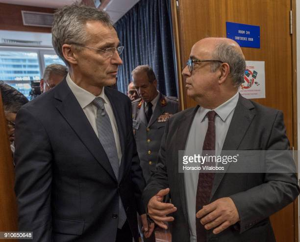 Secretary General Jens Stoltenberg and Portuguese Defense Minister Jose Azeredo Lopes during the visit to NATO's STRIKFORNATO headquarters on January...