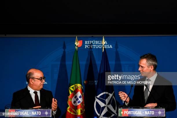 Secretary General Jens Stoltenberg and Portuguese defense minister Jose Alberto Azeredo give a joint press conference at the Portuguese Defense...