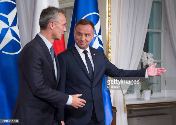 Secretary General Jens Stoltenberg and President of Poland Andrzej Duda during a welcome ceremony before their meeting at Belweder Palace in Warsaw...