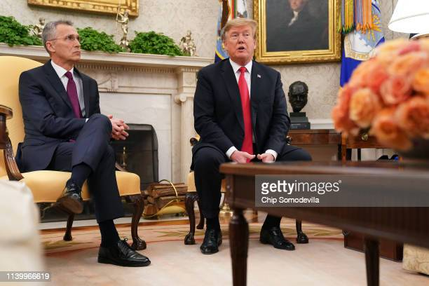Secretary General Jens Stoltenberg and U.S. President Donald Trump talk to reporters in the Oval Office at the White House April 02, 2019 in...