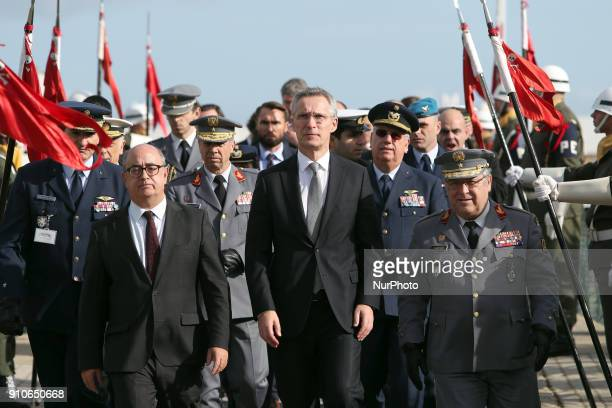 Secretary General Jens Stoltenberg arrives with Portugal's Defence Minister Jose Alberto Azeredo Lopes and Chief of Staff of the Portuguese Armed...