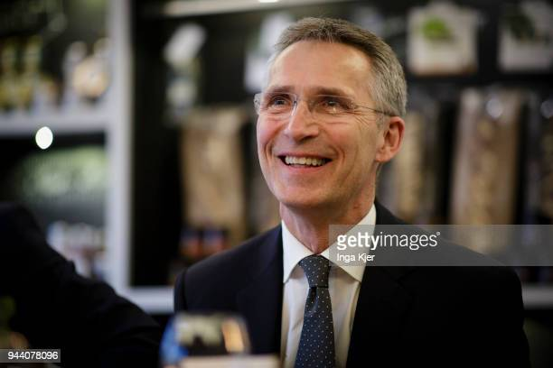 NATO Secretary General Jens Stoltenberg at a restaurant on April 09 2018 in Berlin Germany