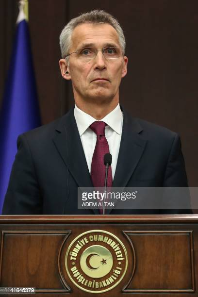 Secretary General Jens Stoltenberg attends a joint press conference with Turkish Foreign Minister at Cankaya Palace in Ankara, on May 6, 2019.